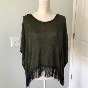 Sheer olive green top with black fringe